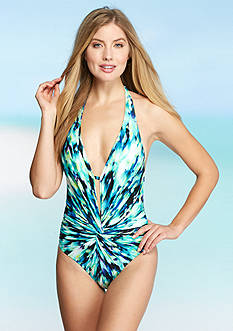 Kenneth Cole Floral Explosion Plunge Mio One Piece