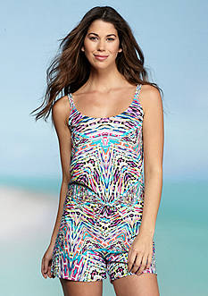Kenneth Cole Reaction Hot To Trot Tribal Romper Cover Up