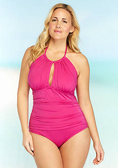 Kenneth Cole Reaction Plus Size Ruffle Shuffle High Neckline One Piece