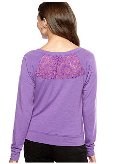 Jolt Solid Lace Back Sweatshirt