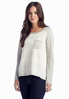 Jolt Lace Front Knit to Woven Top