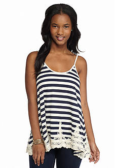 Jolt Lace Hem Striped Tank