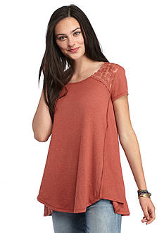 Jolt Lace Shoulder Rib Swing Top