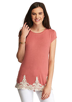 Jolt Short Sleeve Lace Hem Knit Top