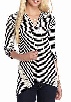 Jolt Striped Rib Lace Up Hoodie