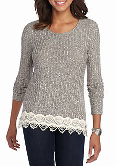 Jolt Long-Sleeve Crochet Hem Top