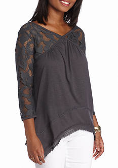 Jolt Lace Neck Peasant Top