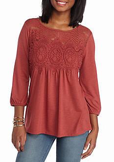 Jolt Lace Neck Victorian Knit Top