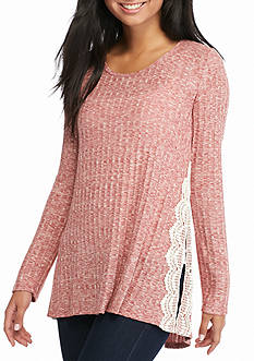 Jolt Long Sleeve Crochet Slit Tunic