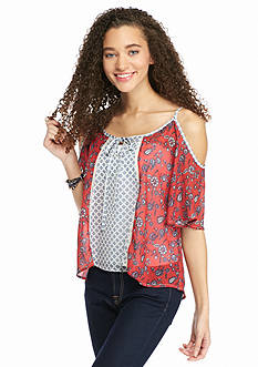 Jolt Twin Print Cold Shoulder Top