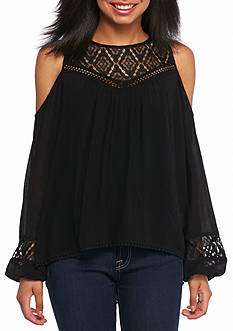 Jolt Cold Shoulder Solid Blouse
