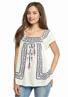 Jolt Embroidered Peasant Top