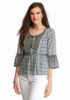 Jolt Mix Printed Peasant Blouse