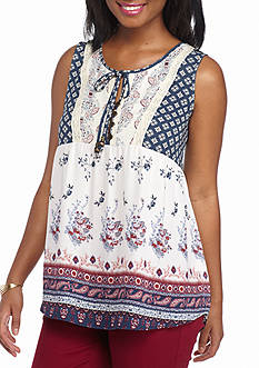 Jolt Sleeveless Border Print Peasant Tank