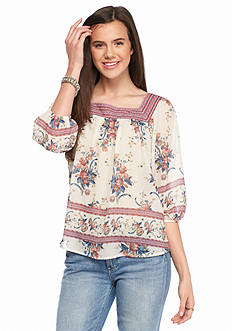 Jolt Printed Cross Back Peasant Blouse