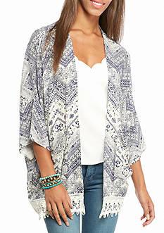 Jolt Crochet Lace Trim Chevron Printed Kimono