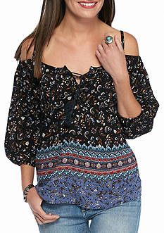 BeBop Printed Lace up Cold Shoulder Blouse