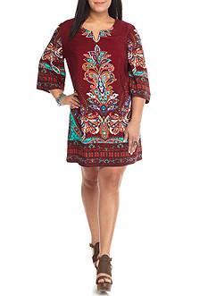 BeBop Plus Size Paisley Border Shift Dress