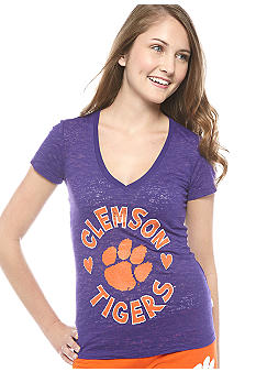 Soffe Clemson V-neck Burnout Tee