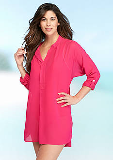 Tommy Bahama Knit and Chiffon Mandarin Collar Tunic Cover Up