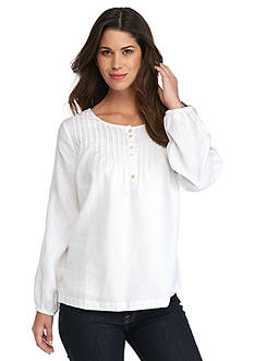 Tommy Bahama Two Palms Embroidered Sleeve Linen Top