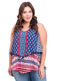 Eyeshadow Plus Size Mixed Print Tiered Tank