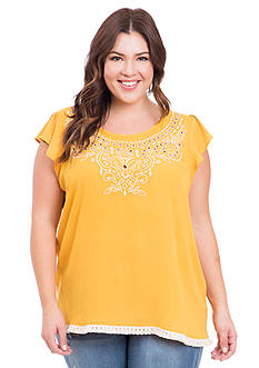 Eyeshadow Plus Size Laser Cut Top