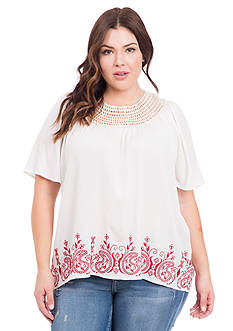 Eyeshadow Plus Size Crochet Neck Embroidered Top