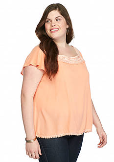 Eyeshadow Plus Size Embroidered Neckline Top