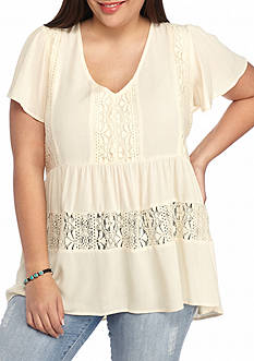 Eyeshadow Plus Size Lace Peasant Top