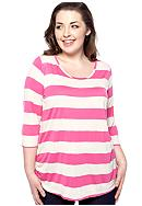 Eyeshadow Plus Size Striped Lace Back Top