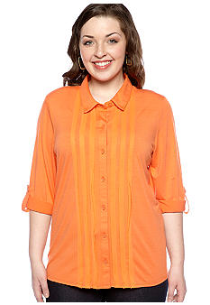 Eyeshadow Plus Size Pleat Front Equipment Shirt