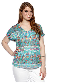Eyeshadow Plus Size Floral Stripe Knit to Woven Tee