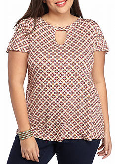 Eyeshadow Plus Size Keyhole Knit Tee