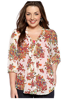 Eyeshadow Plus Size Floral Bow Blouse