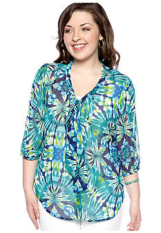 Eyeshadow Plus Size Floral Print Bow Blouse
