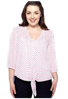 Eyeshadow Plus Size Tie Front Polka Dot Blouse