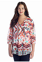 Eyeshadow Plus Size Tribal Print Chiffon Blouse