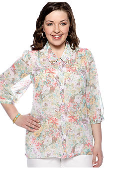 Eyeshadow Plus Size Floral Studded Equipment Shirt