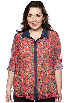 Eyeshadow Plus Size Denim Trim Utility Shirt