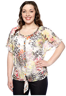 Eyeshadow Plus Size Animal Print Tie Front Blouse