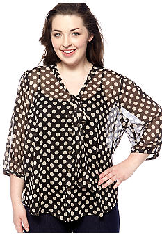 Eyeshadow Plus Size Pleated Back Polka Dot Bow Blouse