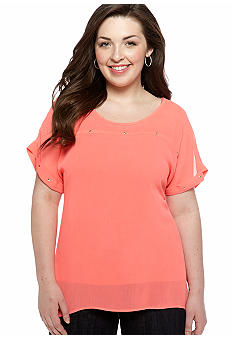 Eyeshadow Plus Size Solid Studded Top