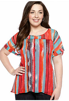 Eyeshadow Plus Size Striped Studded Top