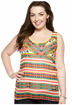 Eyeshadow Plus Size Mixed Stripe Tank