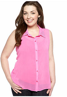 Eyeshadow Plus Size Hi-Lo Equipment Shirt