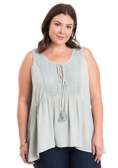 Eyeshadow Plus Size Crochet Bib Gauze Tank