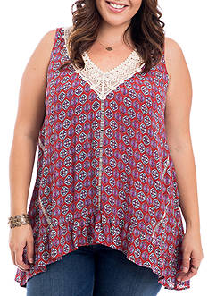 Eyeshadow Plus Size Printed Crochet Trim Tank