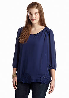 Eyeshadow Plus Size Lace Accent Woven Blouse