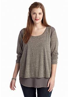 Eyeshadow Plus Size Sequin Shoulder Knit Top